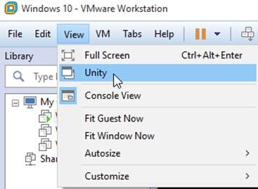 مجازی سازی به وسیله VMware Unity Mode
