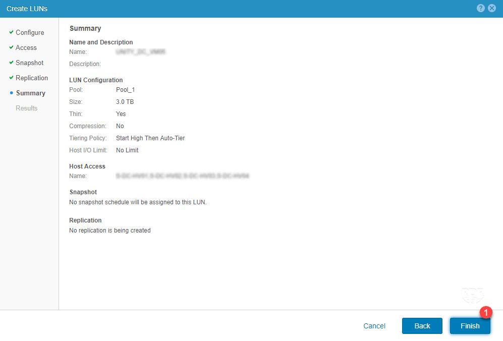 نحوه ایجاد LUN در استوریج EMC Unity 300